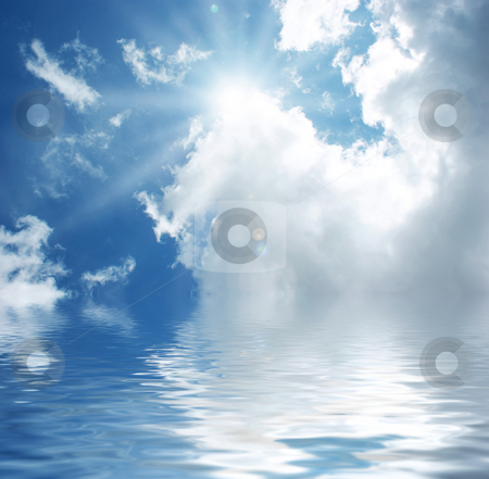 Blue sky with water stock photo, Sunny blue sky reflected in water by Kirsty Pargeter