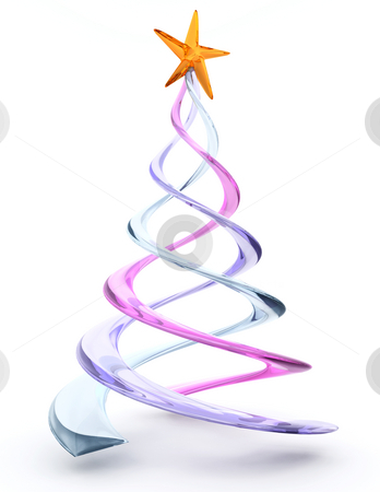Glass spiral Christmas tree stock photo, 3D render of a glass spiral Christmas tree by Kirsty Pargeter