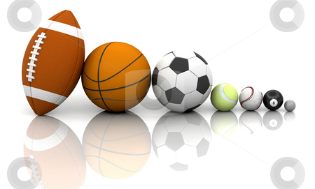 Sports balls stock photo, Various sports balls by Kirsty Pargeter
