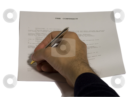 Signing contract stock photo, Male hand signing a contract, on white background by Fabio Alcini
