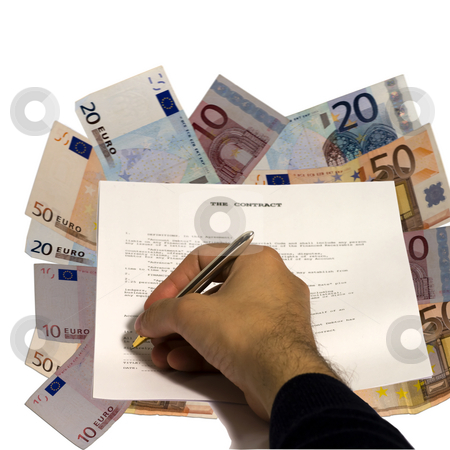 Contract on money stock photo, Male hand signing a contract on money background by Fabio Alcini