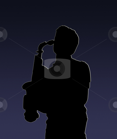 Silhouette of a sax player stock photo, Black silhouette of a sax player on blue and black background by Fabio Alcini