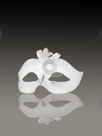 White mask stock photo, A venetian white mask on gray gradient background by Fabio Alcini