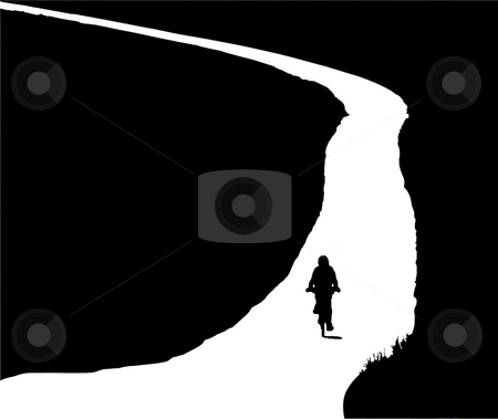 Biker stock photo, Silhouette of a  woman climbing on bike by Fabio Alcini
