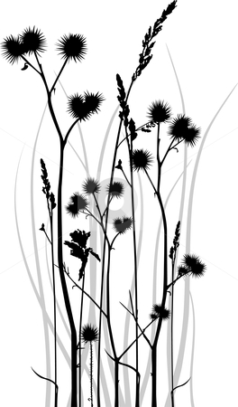Grass silhouette stock vector clipart, Gray scale vector silhouette of grass blades with bur. by Ina Wendrock