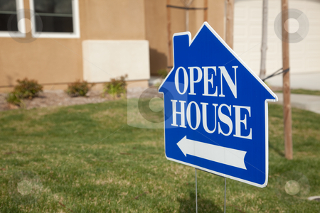 Blue Open House Sign stock photo, Blue Open House Real Estate Sign in Front Yard of Home. by Andy Dean