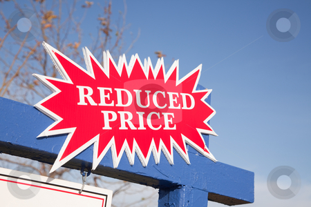 Red Reduced Price Burst Sign stock photo, Red Reduced Price Burst Real Estate Sign. by Andy Dean