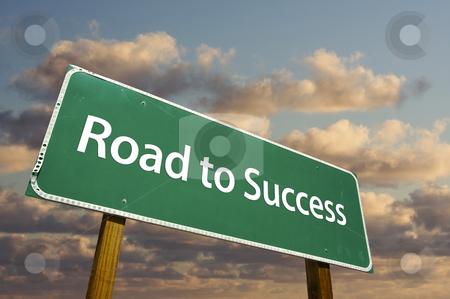 Road to Success Green Road Sign stock photo, Road to Success Green Road Sign with dramatic clouds and sky. by Andy Dean