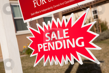 Sale Pending Real Estate Burst Sign stock photo, Red Sale Pending Real Estate Burst Sign. by Andy Dean