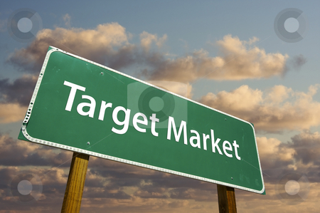 Target Market Green Road Sign stock photo, Target Market Green Road Sign with dramatic clouds and sky. by Andy Dean