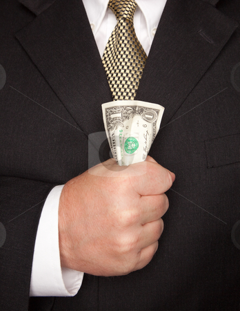 Businessman Squeezing Dollar Bill stock photo, Businessman with Coat and Tie Squeezing Dollar Bill. by Andy Dean