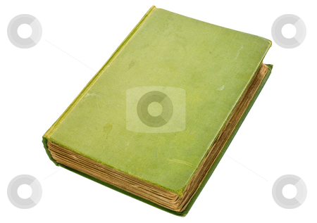 Scruffy old green hardback book isolated over white. stock photo, Scruffy old green hardback book isolated over white. by Stephen Rees