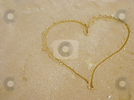 Love message stock photo, Love message heart scribed in sand by Jack Schiffer