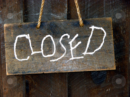 Closed stock photo, Closed sign made from wood hung by a rope by Jack Schiffer
