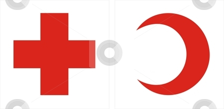 Red Cross Red Crescent stock photo, Two sign that show red cross and red crescent in a white square by Tudor Antonel adrian