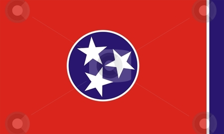 Flag Of Tennessee stock photo, 2D illustration of Tennessee flag american state vector by Tudor Antonel adrian