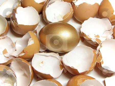 Gold and eggshell stock photo, Golden egg among eggshell by Sergej Razvodovskij