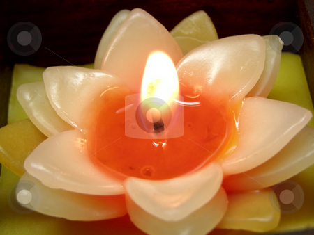 Flower candle stock photo, Burning candle in the form of flower by Sergej Razvodovskij