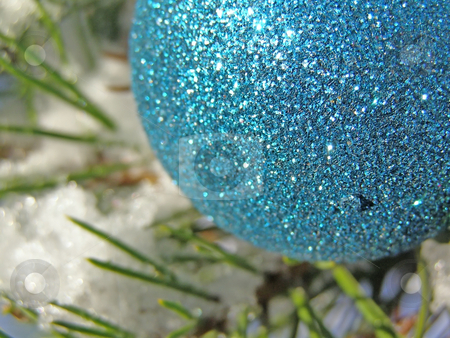 Blue Christmas ball stock photo, Decoration blue ball on the christmas tree outdoor by Sergej Razvodovskij