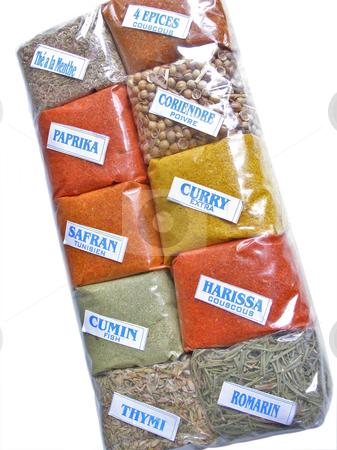Spices set stock photo, Kit og different multicolore spices by Sergej Razvodovskij