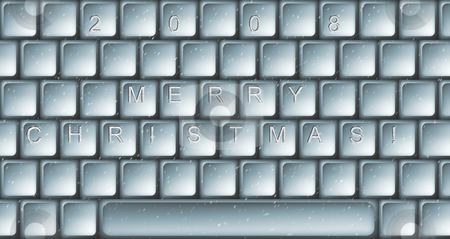 Christmas keyboard stock photo, Illustration of caption Merry Christmas on the keyboard by Sergej Razvodovskij