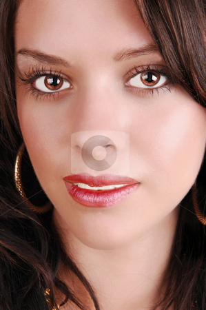 Beautiful face. stock photo, The face of a pretty girl in close-up with brown hair and red lips. by Horst Petzold