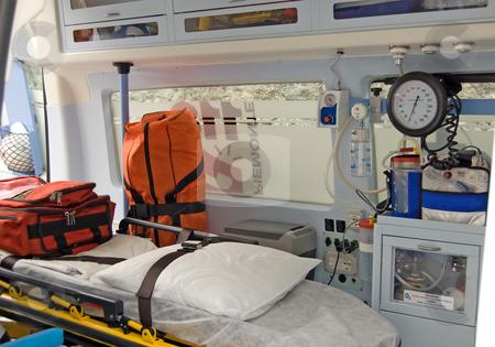 Ambulance equipment stock photo, Equipment of an italian