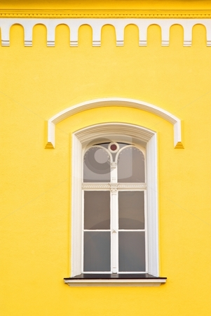 Window and details of old facade stock photo, Window and details of white - yellow facade by Juraj Kovacik