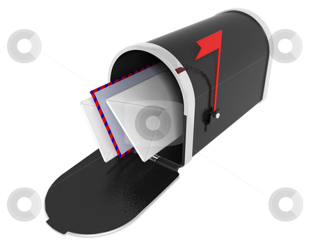 Mail box with letters stock photo, 3D render of a mail box with letters by Kirsty Pargeter