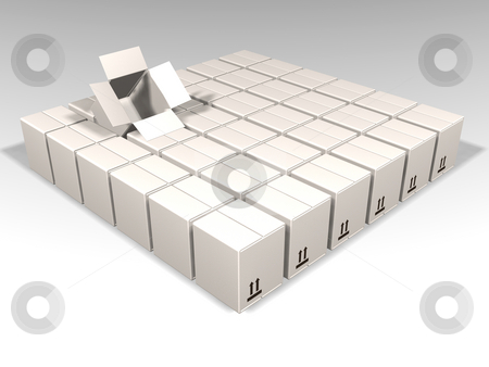 White boxes stock photo, 3D render of lots of white boxes with one open by Kirsty Pargeter