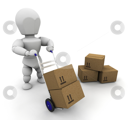 Man with boxes stock photo, 3D render of man moving boxes by Kirsty Pargeter