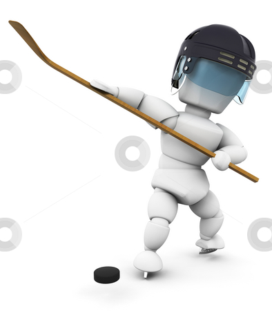 Ice hockey player stock photo, 3D render of an ice hockey player by Kirsty Pargeter