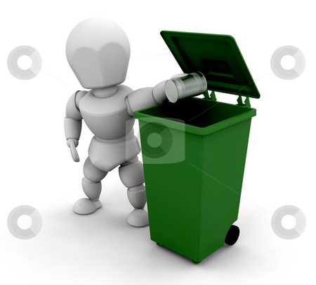 Person putting tin in bin stock photo, 3D render of someone putting a tin can in a green bin by Kirsty Pargeter