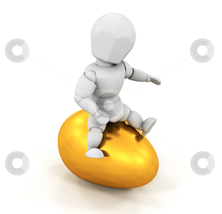 Person sitting on Easter egg stock photo, 3D render of someone sitting on top of a golden Easter egg by Kirsty Pargeter
