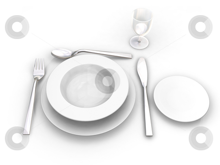 Place setting stock photo, 3D render of a place setting by Kirsty Pargeter