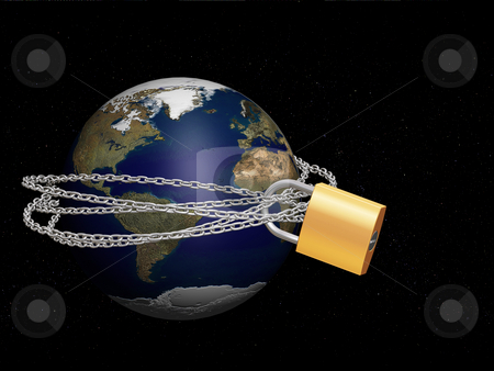 Protecting the world stock photo, 3D render of the world with a padlock and chain around it by Kirsty Pargeter