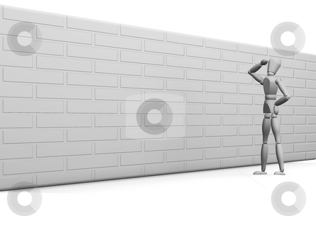 Man with brick wall stock photo, 3D render of a man looking how to get over an obstacle by Kirsty Pargeter
