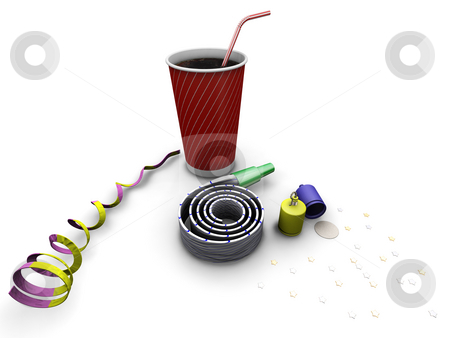 Party time stock photo, 3D render of party objects by Kirsty Pargeter