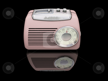 Retro radio stock photo, 3D render of a retro radio on a black background by Kirsty Pargeter