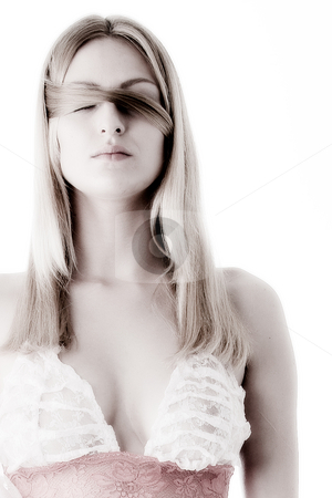 See no evel, woman with hair around her eyes stock photo, Portrait of a beautifull woman who's eyes are covered by Frenk and Danielle Kaufmann
