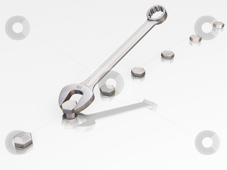 Spanner with nuts stock photo, 3D render of a spanner and nuts by Kirsty Pargeter