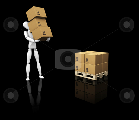 Man stacking boxes stock photo, 3D render of a worker stacking boxes by Kirsty Pargeter
