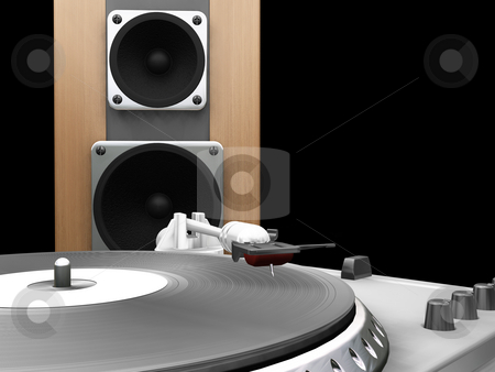 Turntable and speaker stock photo, 3D render of a turntable and speaker by Kirsty Pargeter