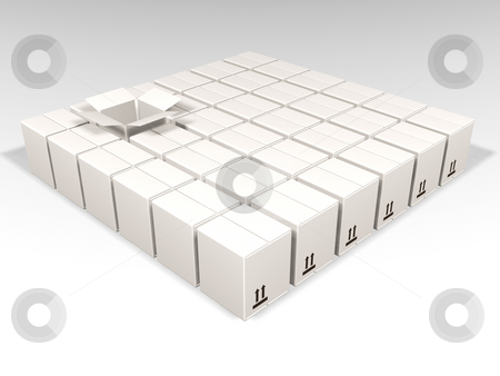 Open white box stock photo, 3D render of lots of white boxes with one open by Kirsty Pargeter