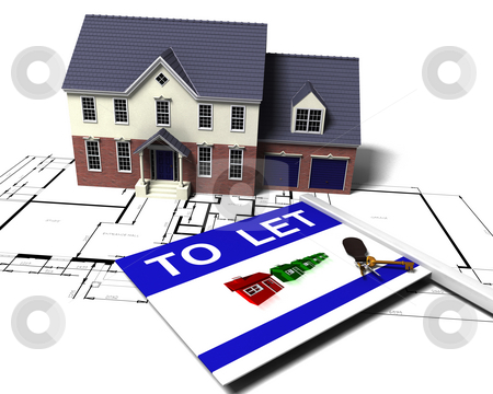 House to let stock photo, 3D render of a house on blueprints with to let sign and bunch of keys by Kirsty Pargeter