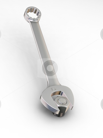 Spanner with nut and bolt stock photo, 3D render of a spanner with a nut and bolt by Kirsty Pargeter