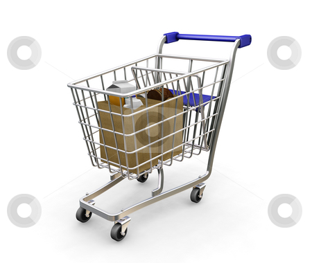 Shopping trolley with groceries stock photo, 3D render of a shopping trolley with groceries by Kirsty Pargeter
