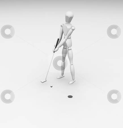 Golfer stock photo, 3D render of a golfer going for the putt by Kirsty Pargeter