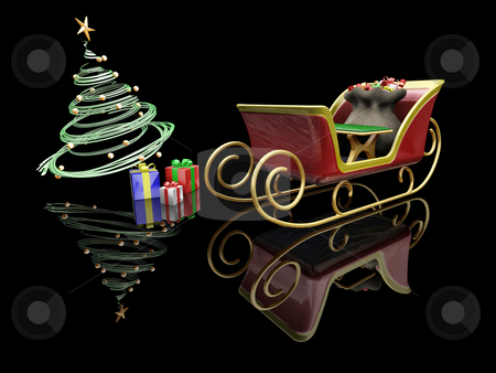 Santas sleigh stock photo, 3D render of Santas sleigh, a Christmas tree and presents by Kirsty Pargeter