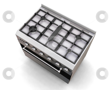 Cooker  stock photo, 3D render of a top view of a cooker by Kirsty Pargeter